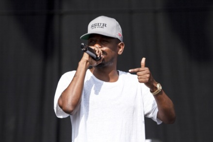 LONDON, UNITED KINGDOM - JULY 13: Kendrick Lamar performs on stage on Day 2 of Yahoo Wireless Festival 2013 at Queen Elizabeth Olympic Park on July 13, 2013 in London, England. (Photo by Andrew Benge/Redferns via Getty Images)