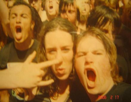 My friend Charlotte and I in the Mudvayne moshpit, Big Day Out 2006